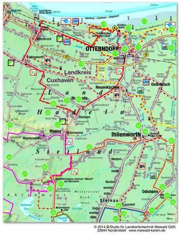 Hadler Sagenweg | Karte: Studio für Landkartentechnik - www.maiwald-karten.de